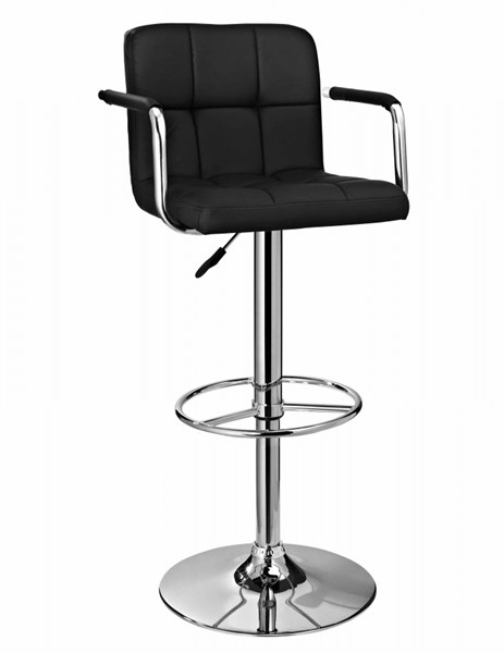 Contemporary Chrome Black Faux Leather ABS Metal Quilted Barstool PWL-171-915