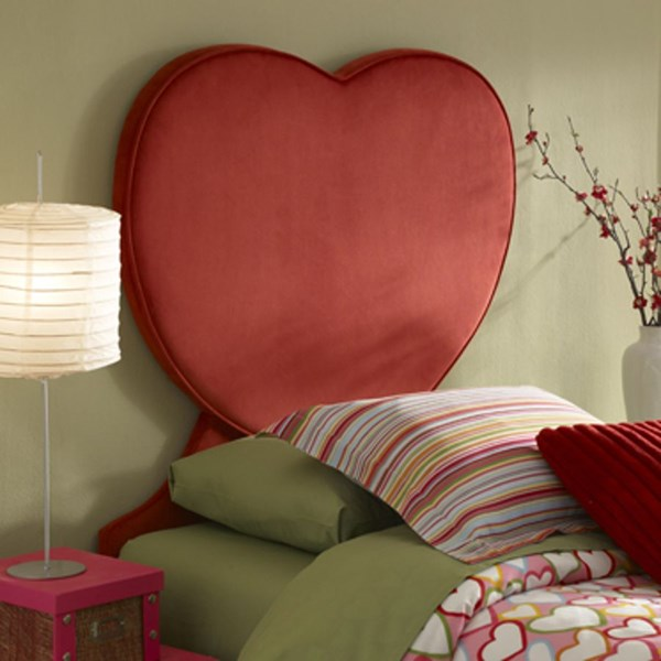 Youth Beds / Bunks Red MDF Heart Twin Size Headboard PWL-198-039