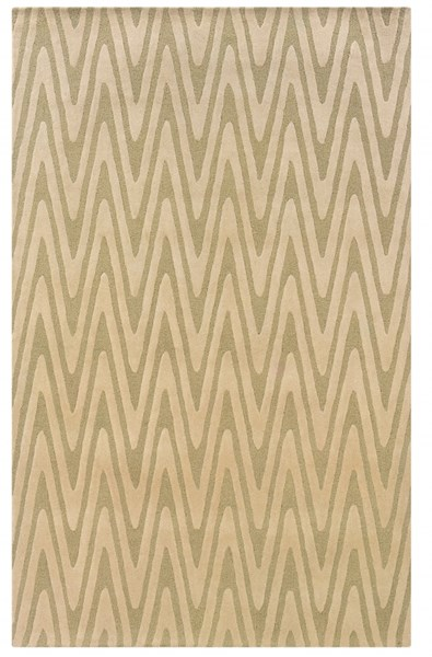 Bombay Collection New Wool Green Chevron Rug PWL-200-R0034-8