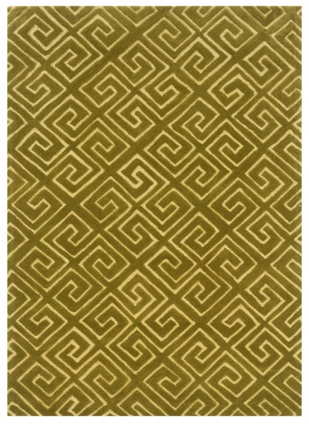 Bombay Modern Yellow Navy Green Fabric Fret Hand Tufted Rug PWL-200-R47-8-9-VAR