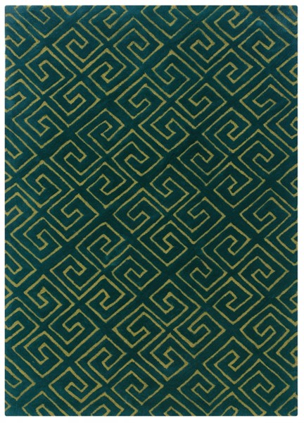 Bombay Collection Polyester Fret Navy Hand Tufted Rectangle Rug PWL-200-R0048-5