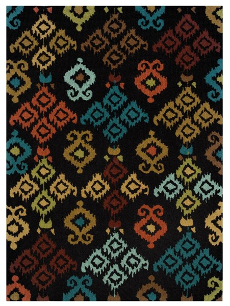 Bombay Collection Polyester Ecote Black Rectangle Rug PWL-200-R0060-5