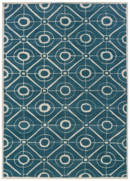Bombay Collection Polyester Contort Teal Geometric Design Rug PWL-200-R0063-8