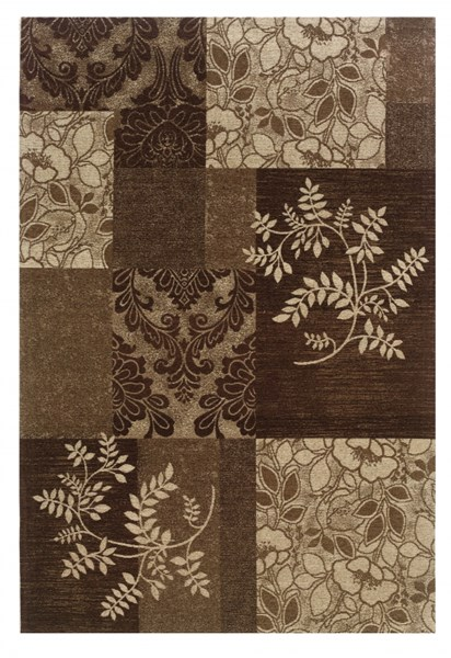 Bombay Collection Classic Brown Chenille Polyester Rug (L 120 X W 96) PWL-200-R0071-8