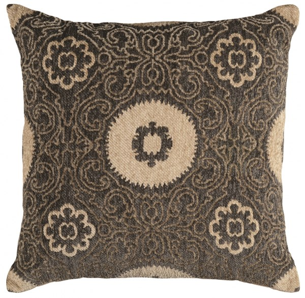 Bombay Collection Polyester Chenille Tapis Suzi Charcoal Pillow PWL-200-R0073-P