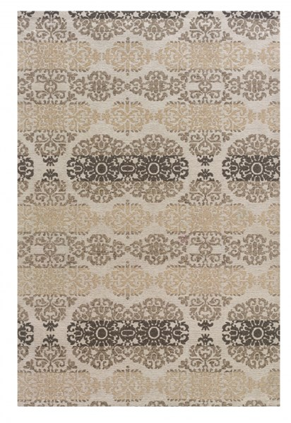 Bombay Collection Polyester Tapis Double Medal Beige Rug (L 36 X W 24) PWL-200-R0074-1