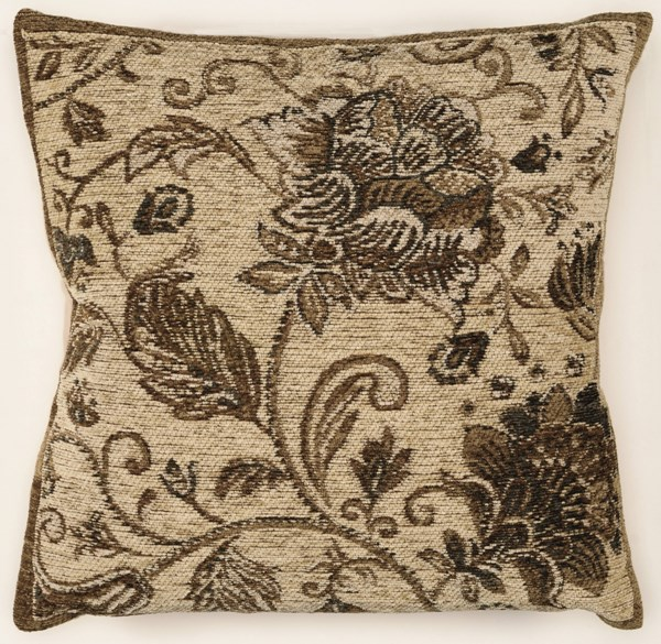 Bombay Collection Polyester Chenille Tapis Bouquet Grey Pillow PWL-200-R0075-P