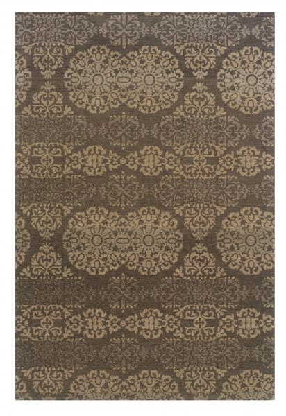 Bombay Collection Grey Polyester Tapis Double Medal Rug (L 36 X W 24) PWL-200-R0079-1