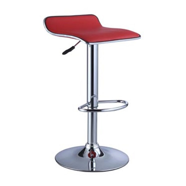 Contemporary Red Faux Leather Metal Bar Stool w/Adjustable Height PWL-208-847