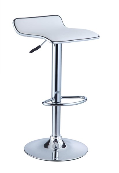 2 Contemporary White PU Faux Leather Chrome Steel Bar Stools PWL-211-847X