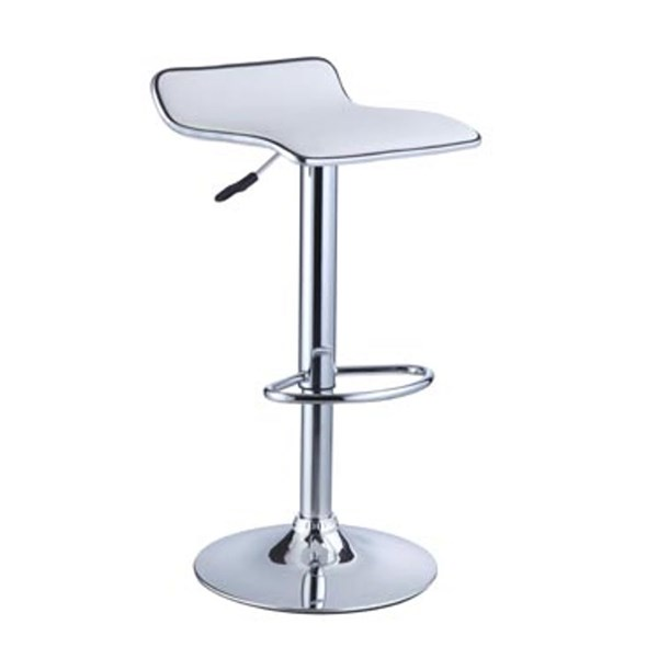 2 White Faux Leather Metal Adjustable Height Bar Stools PWL-211-847