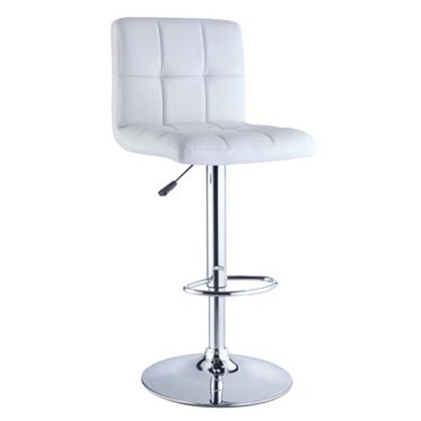 Contemporary White Chrome PU Faux Leather Adjustable Height Bar Stool PWL-211-851