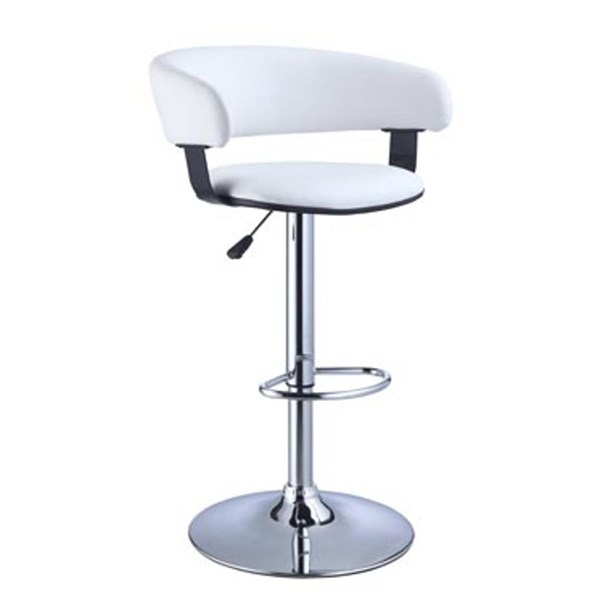 White PU Faux Leather Chrome Steel Barrel Adjustable Height Bar Stool PWL-211-915