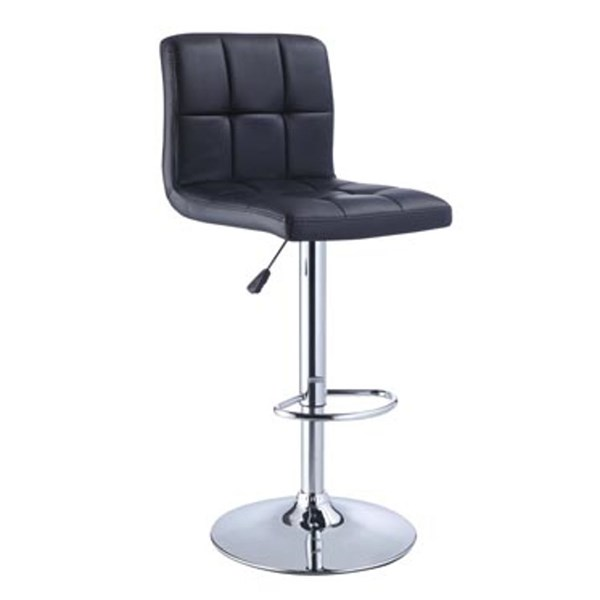 Black Quilted PU Faux Leather Chrome Steel Adjustable Height Bar Stool PWL-212-851