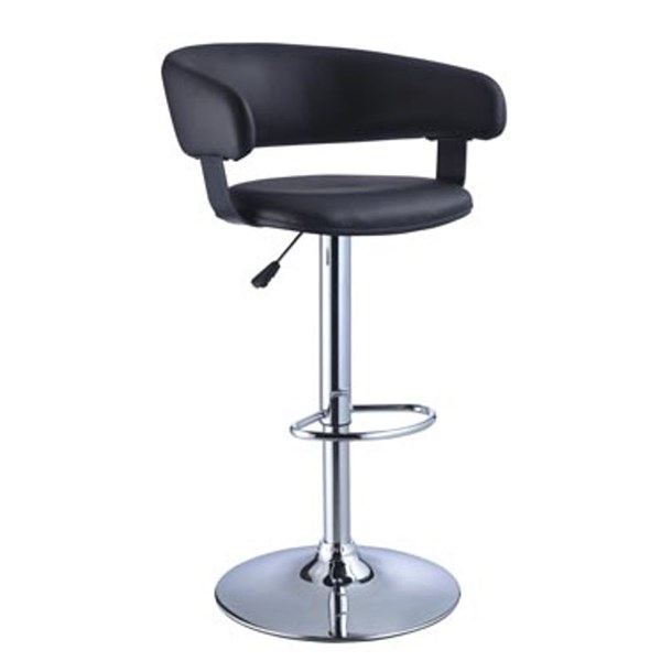 Powell Furniture Black Low Back Adjustable Height Bar Stool PWL-212-915