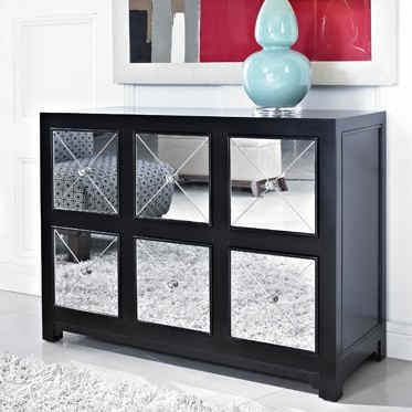 Modern Black Solid Wood MDF Mirrored Six Drawers Rectangle Console PWL-233-660