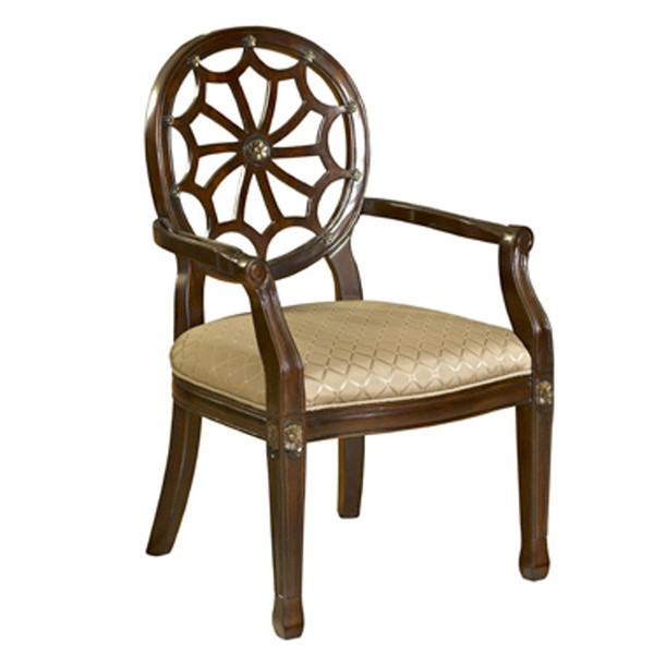 Classic Seating Mahogany Wood Spider Web Back Accent Chair PWL-235-620