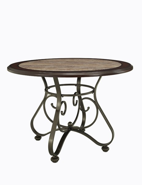 Whitman Collection Bronze Metal MDF Birch Veneer Dining Table PWL-236-4131T2