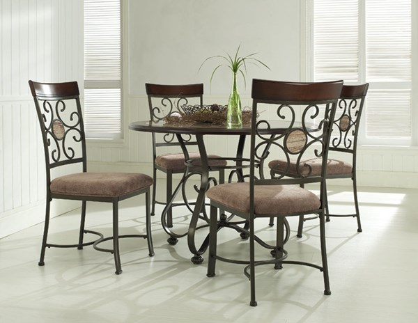 Whitman Collection Bronze Wood Metal Dining Set PWL-236-413-DR