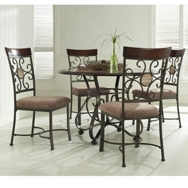 Whitman Brown Fabric Metal Wood 5pc Dinning Room Set PWL-236-S