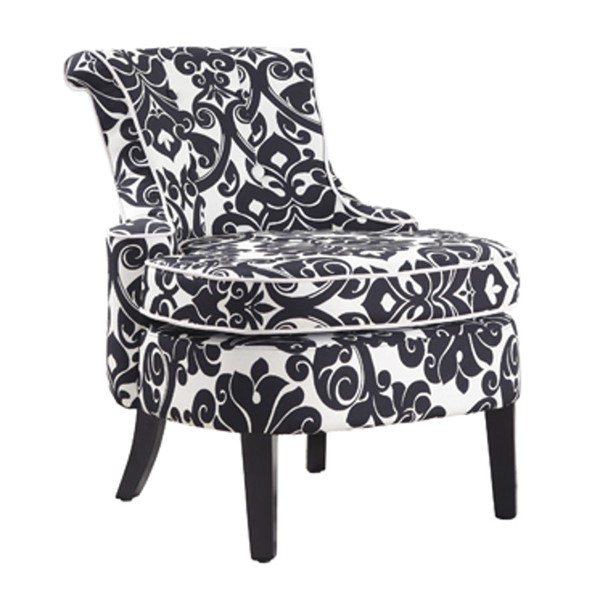 Cap Arm Black & White Floral Chenille Fabric Accent Chair PWL-243-620