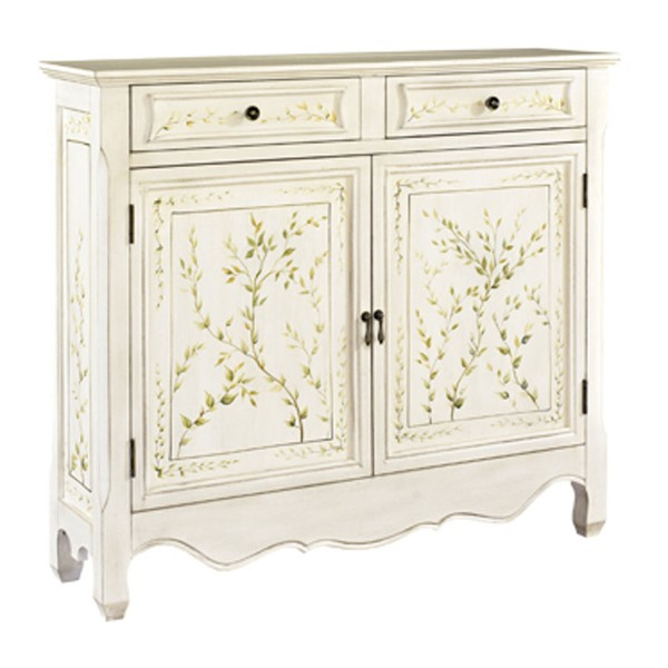 White MDF Solid Wood Hand Painted 2 Doors Console PWL-246-332