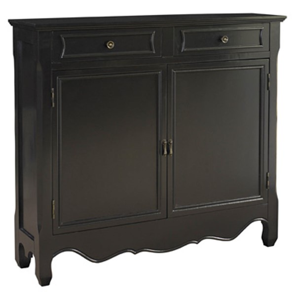 Black MDF Solid Wood Brown Lining Two Doors and Two Drawers Console PWL-246-333