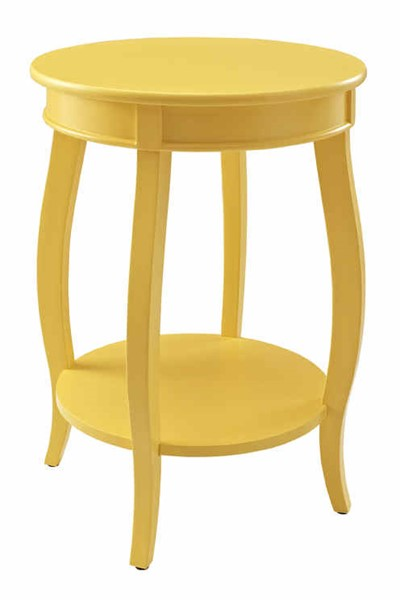 Powell Furniture Yellow Round Table with Shelf PWL-256-350