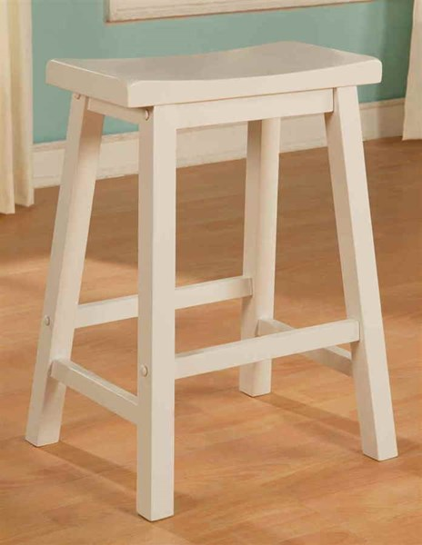 Color Story Classic White Rubberwood Counter Stool PWL-270-430