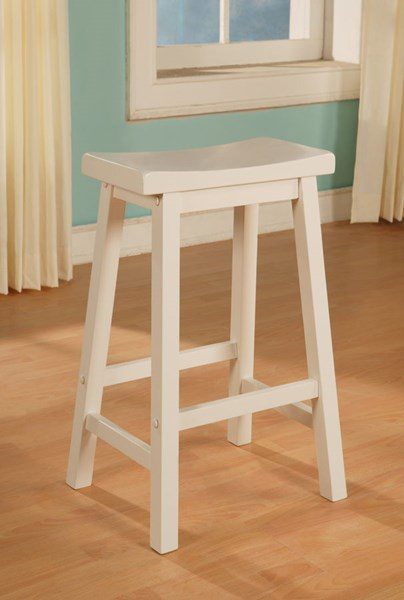Color Story Classic White Red Rubberwood Saddle Bar Stool PWL-270-286-VAR