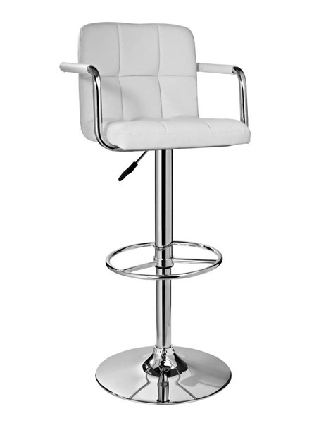 Contemporary White Faux Leather Chrome Base Metal Quilted Bar Stool PWL-274-915