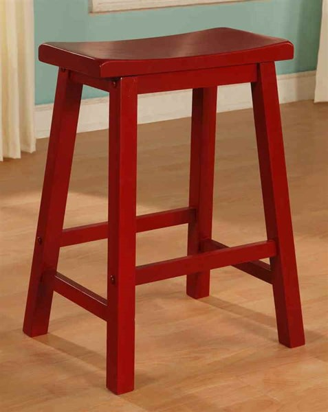 Color Story Classic Crimson Red Rubberwood Counter Stool PWL-286-430