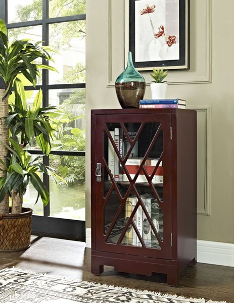Accent Red MDF Glass Chippendale Side Table PWL-286-894