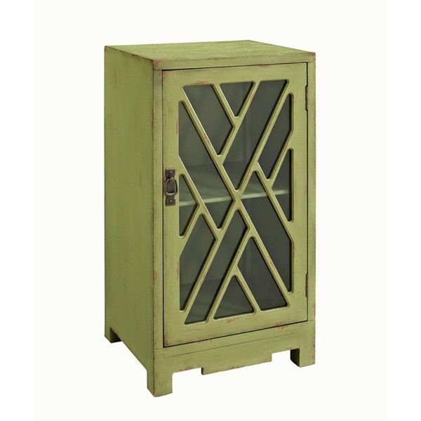 Accent Green MDF Glass Chippendale Side Table PWL-326-937