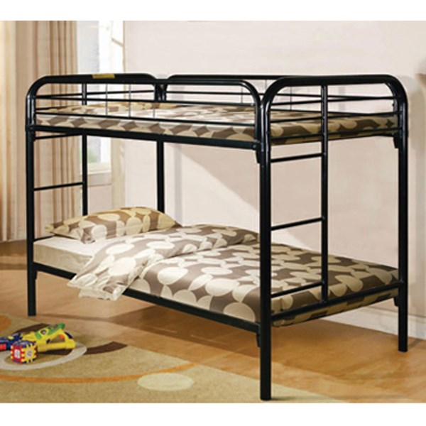 Youth Black Metal Twin Bunk Bed w/Built In Ladder PWL-333B