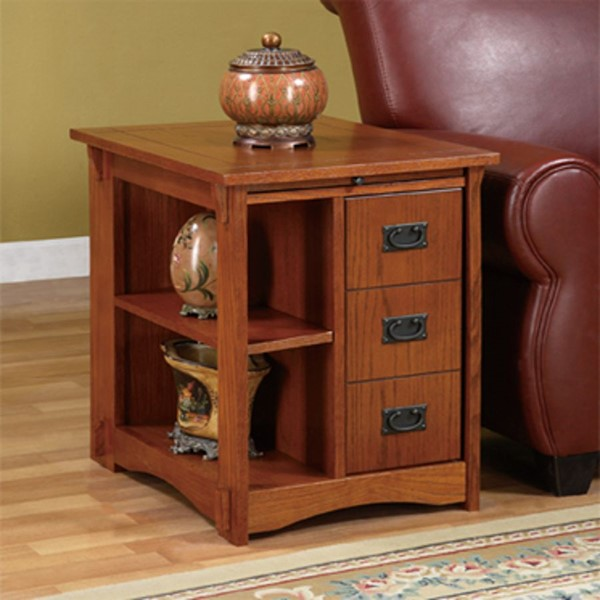 Mission Oak Traditional MDF Particleboard Cabinet Table PWL-356
