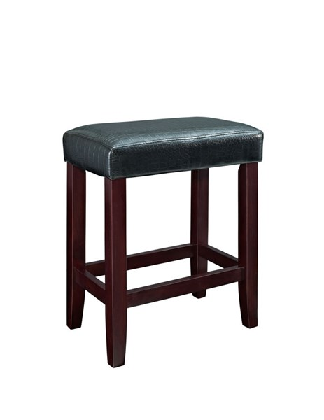 2 Powell Cafe Collection Black Firefoam Faux Leather Counter Stools PWL-358-863X