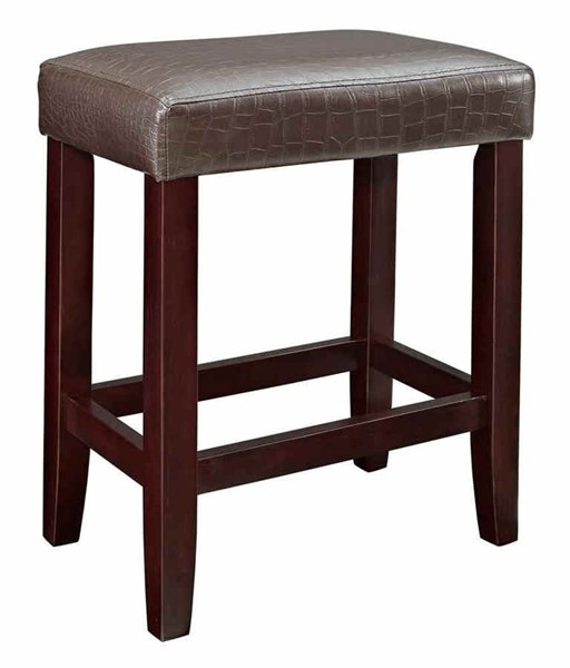 2 Brown Croc Faux Leather Wood Counter Stools w/Footrest PWL-358-885