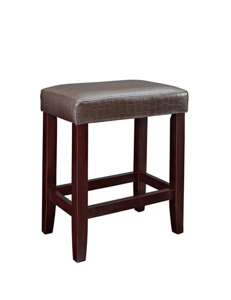 2 Powell Cafe Collection Brown Faux Leather Firefoam Counter Stools PWL-358-885X