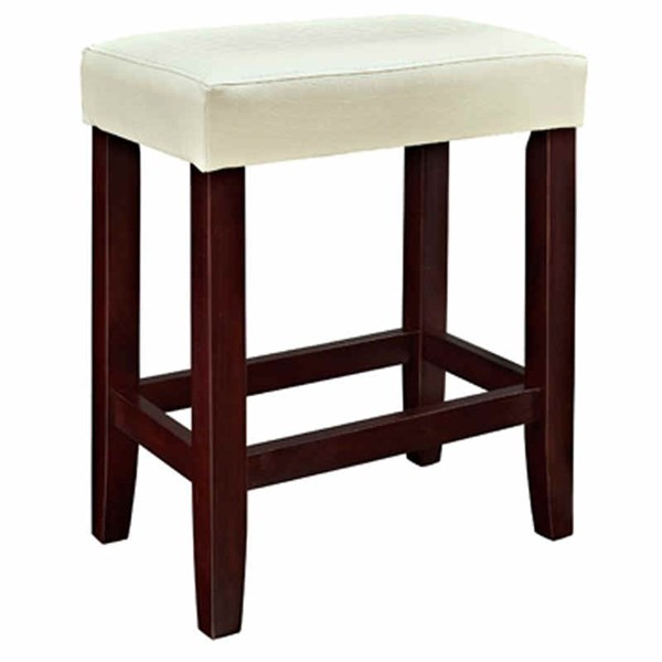 2 White Croc Faux Leather Wood Counter Stools w/Footrest PWL-358-919