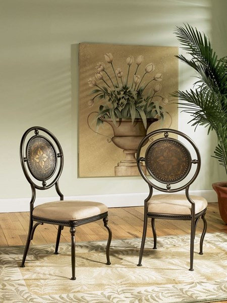 2 Powell Cafe Collection Antique Fabric Basil Dining Side Chairs PWL-364-434XT2
