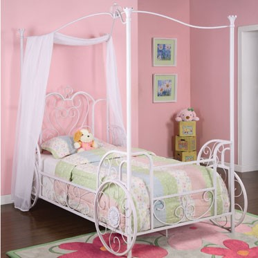 Princess Antique White Pink Steel Emily Carriage Canopy Twin Size Bed PWL-374-042