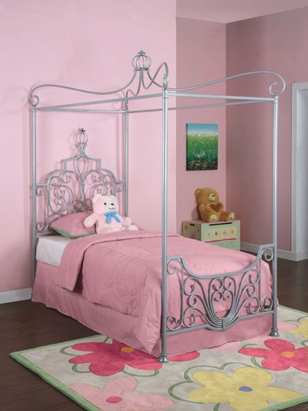 Princess Modern Silver Steel Rebecca Canopy Twin Size Bed PWL-374-106