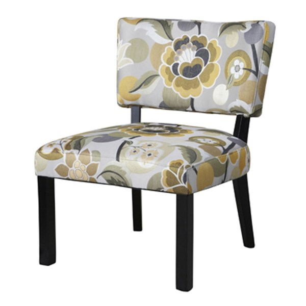 Classic Seating Yellow Gray Black Floral Fabric Accent Chair PWL-383-631