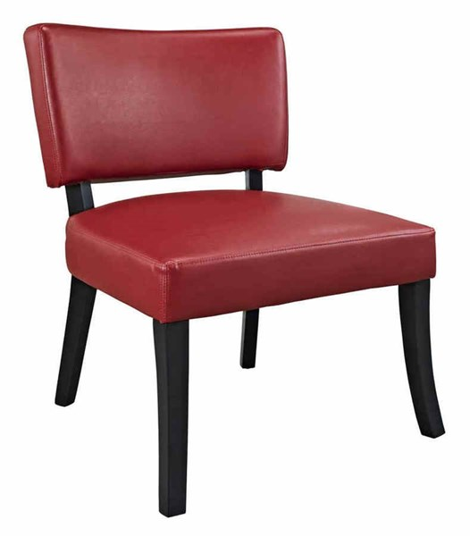 Classic Seating Dark Brown Vinyl Solid Wood Red Leather Look Chair PWL-383-725
