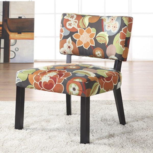 Classic Seating Bright Floral Print PU Black MDF Accent Chair PWL-383-936
