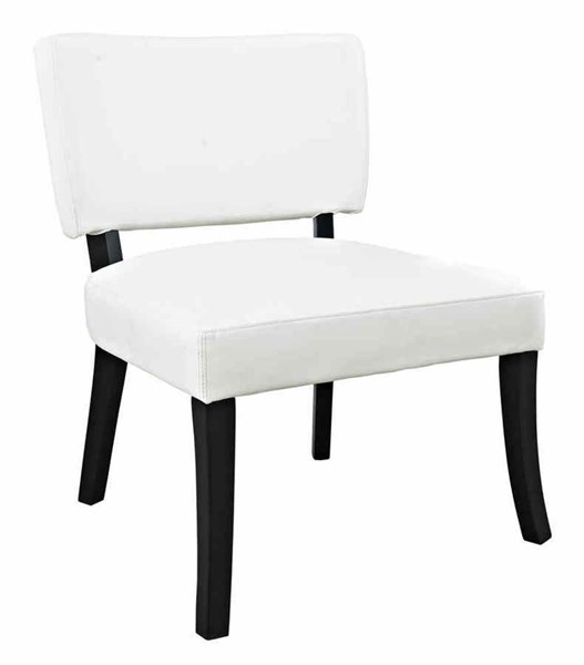 Classic Seating Dark Brown Red Solid Wood White Leather Look Chair PWL-383-965