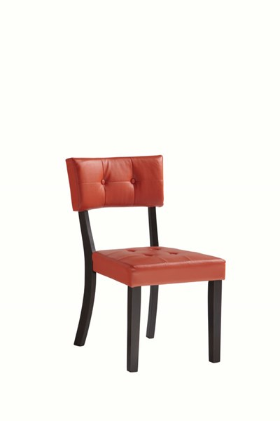 2 Powell Cafe Rubberwood Prism Red Faux Lether Side Chairs PWL-398-438X