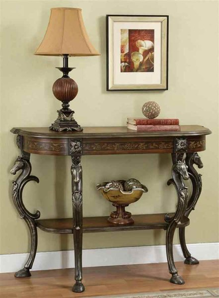Masterpiece Brown MDF Metal Floral Demilune Horse Head Console Table PWL-416-225