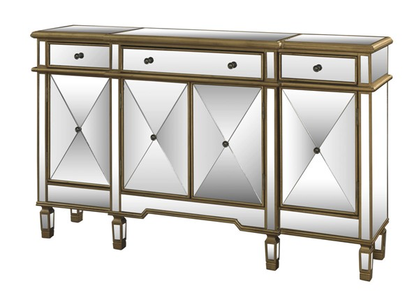 Gold Mirror MDF Three Drawers and 4 Doors Console PWL-427-304